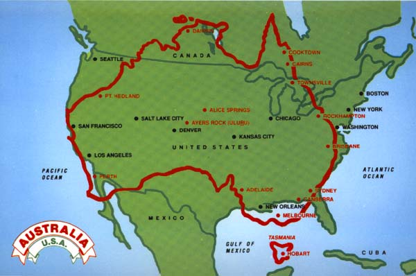 United States Map With Mileage Scale.How Big Is Australia Compared To Usa