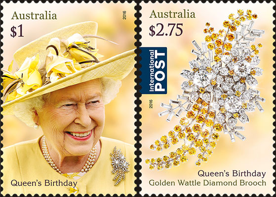 stamp: Acacia pycnantha Queen's brooch