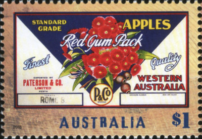 'Red Gum Pack Apples' stamp 2016